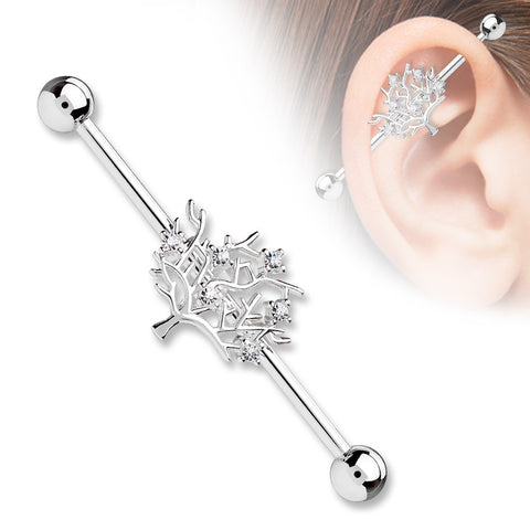 Silver Tree of Life CZ Set 14ga 316L Surgical Steel Industrial Barbells Body Jewelry - BodyDazzle - 1