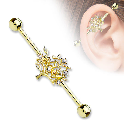 Gold Tree of Life CZ Set 14ga 316L Surgical Steel Industrial Barbells Body Jewelry - BodyDazzle - 1