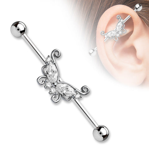 Silver Marquise and Round CZ Butterfly 316L Surgical Steel Industrial Barbells - BodyDazzle - 1