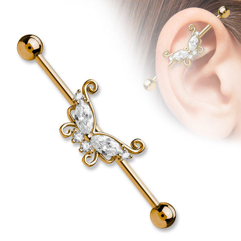 Gold Marquise and Round CZ Butterfly 316L Surgical Steel Industrial Barbells - BodyDazzle - 1