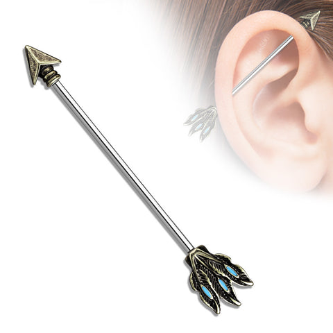 Tribal Arrow 316L Surgical Steel Industrial Barbells Body Jewelry 14ga - BodyDazzle