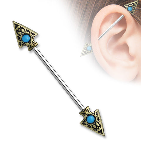 Turquoise set Tribal Spear on Both sides 316L surgical Steel Industrial Barbells 14ga - BodyDazzle