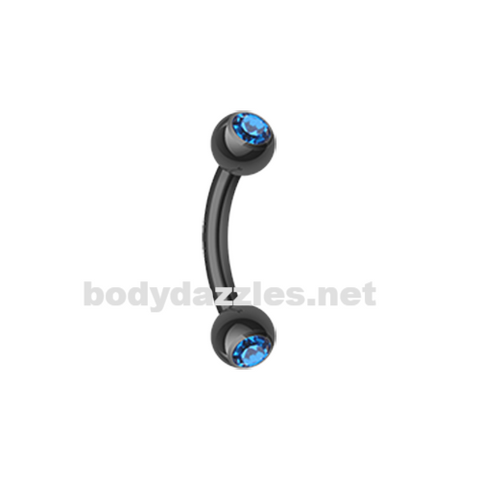 Black and Blue Colorline PVD Double Gem Ball Curved Barbell Eyebrow Ring Rook Daith Ring 16ga Body Jewelry - BodyDazzles
