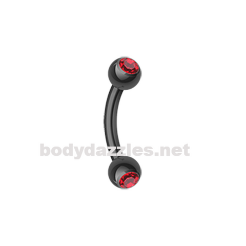 Black and Red Colorline PVD Double Gem Ball Curved Barbell Eyebrow Ring Rook Daith Ring 16ga Body Jewelry - BodyDazzles