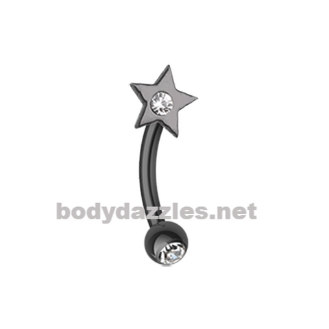 Black Sparkle Star Curved Barbell Eyebrow Ring Rook Daith Ring 16ga Body Jewelry - BodyDazzles