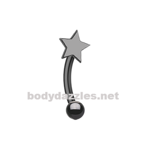 Black Colorline  Star Curved Barbell Eyebrow Ring Rook Daith Ring 16ga Body Jewelry - BodyDazzles