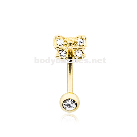Golden Dainty Bow-Tie Curved Barbell Eyebrow Ring Eyebrow Ring Rook Daith Ring 16ga Body Jewelry - BodyDazzle