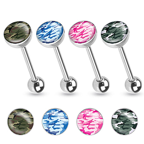 *FREE GIVEAWAY* Camouflage Print Inlayed 316L Surgical Steel Tongue Ring 14ga - BodyDazzle