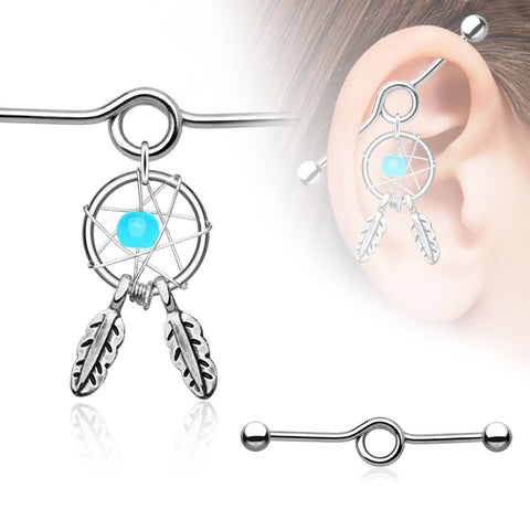 Blue Dream Catcher Industrial Piercing Barbell 14ga Scaffold 316L Surgical Stainless Steel - BodyDazzle