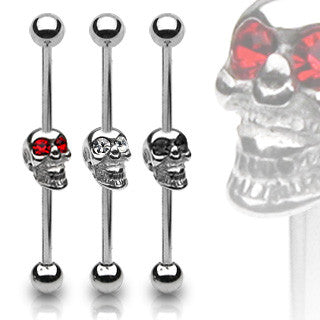 Skull Industrial Piercing 316L Barbell Scaffold Body Jewelry 14ga - BodyDazzle