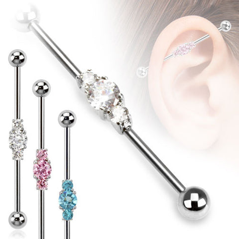 Cubic Zarconia Industrial Piercing Barbell Scaffold 14ga Body Jewelry 316L Surgical Stainless Steel - BodyDazzle