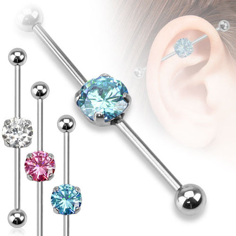 Round Cubic Zarconia Industrial Piercing Surgical Steel Industrial Barbell Scaffold - BodyDazzle