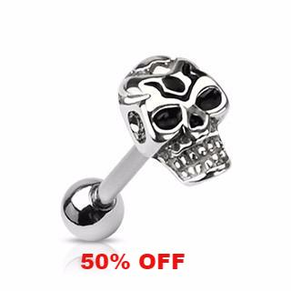 Skull Tongue Ring  14ga Surgical Steel Body Jewelry Barbell Body Piercing - BodyDazzle