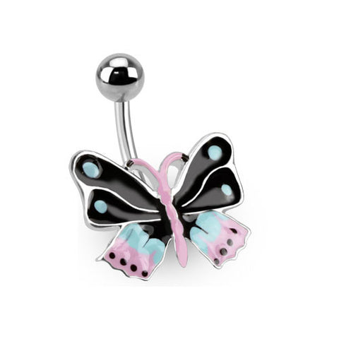 Butterfly Non Dangle Belly Ring Navel Ring Surgical Stainless Steel Body Jewelry - BodyDazzle