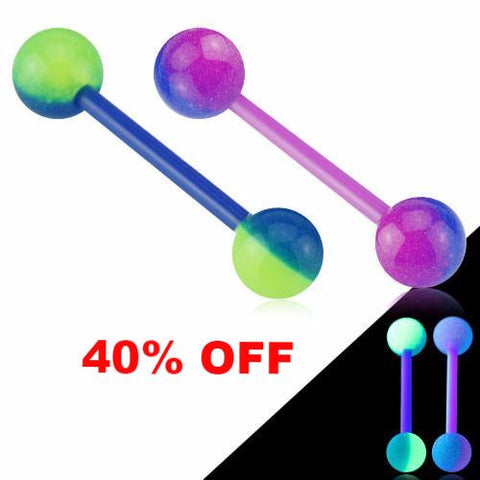 Color Glow In The Dark Ball Tongue Ring Acrylic Flexible Barbell Nipple Barbell 14ga Body Jewelry - BodyDazzle