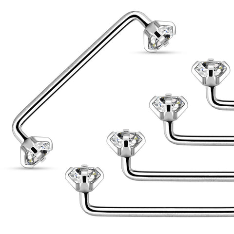 Staple Surface Barbell with Internally Threaded Prong set Clear Gem 316L Surgical Steel 14 Gauge - BodyDazzle