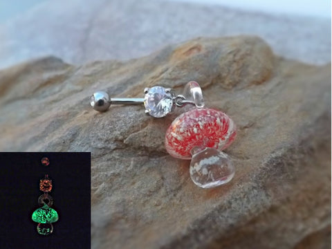 Glow In the Dark Red Glass Mushroom Belly Ring Body Jewelry 14ga - BodyDazzle - 1