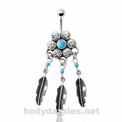 Tribal Gem Paved Feather Dangle Belly Ring 316L Surgical Steel Navel Ring