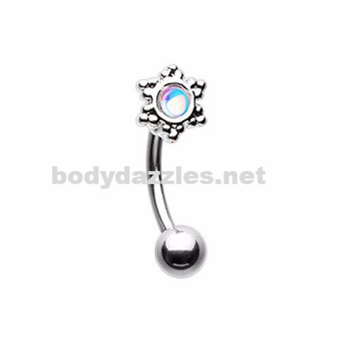 Revo Illuminating Snowflake Curved Barbell Eyebrow Ring Conch Rook Daith Ring 16ga Body Jewelry