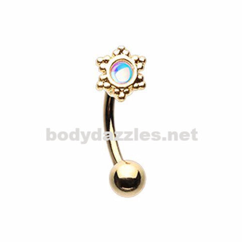 Golden Revo Illuminating Snowflake Curved Barbell Eyebrow Ring Conch Rook Daith Ring 16ga Body Jewelry