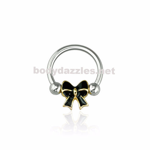 Epoxy Gold Trim Bow 316L Surgical Steel Captive Bead Ring 16ga