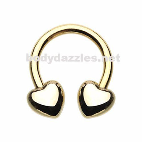 Golden Heart Horseshoe Circular Barbell Cartilage Tragus Nipple Ring Nipple Bar 16ga 14ga