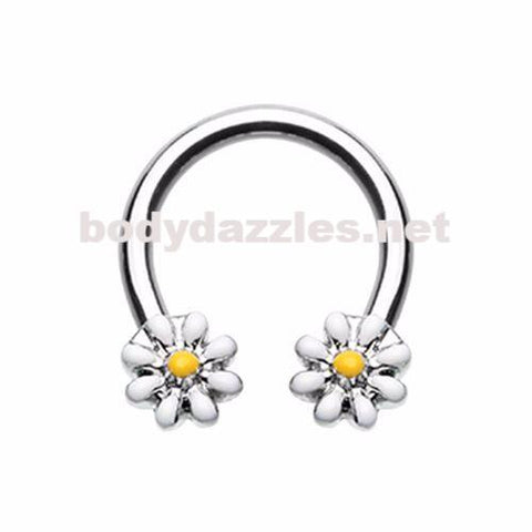 Daisy Flower Horseshoe Circular Barbell Cartilage Tragus Nipple Ring Nipple Bar 16ga 14ga