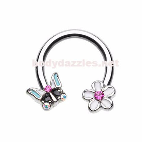 Spring Butterfly Flower Horseshoe Circular Barbell Cartilage Tragus Nipple Ring Nipple Bar 16ga 14ga