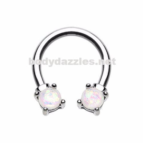 Prong Set Opal Glitter Horseshoe Circular Barbell Cartilage Tragus Nipple Ring Nipple Bar 16ga 14ga