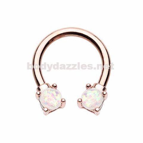 Rose Gold Prong Set Opal Glitter Horseshoe Circular Barbell Cartilage Tragus Nipple Ring Nipple Bar 16ga 14ga