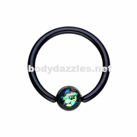 Synthetic Opal Ball Steel Captive Bead Ring Cartilage Tragus Nipple Ring Nipple Bar 16ga