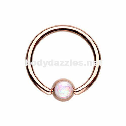 Rose Gold Synthetic Opal Ball Steel Captive Bead Ring Cartilage Tragus Nipple Ring Nipple Bar 16ga