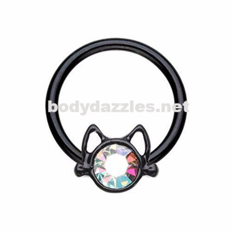 Black Kitty Cat Steel Captive Bead Ring Cartilage Tragus Nipple Ring Nipple Bar 16ga