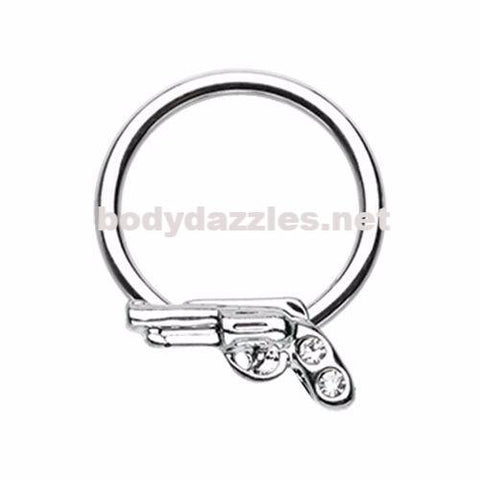 Gun Pistol Steel Captive Bead Ring Cartilage Tragus Nipple Ring Nipple Bar 16ga