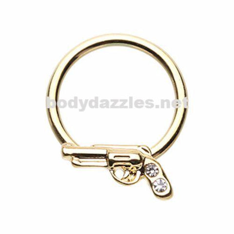 Golden Gun Pistol Steel Captive Bead Ring Cartilage Tragus Nipple Ring Nipple Bar 16ga
