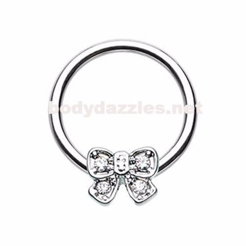 Ribbon Bow Tie Steel Captive Bead Ring Cartilage Tragus Nipple Ring Nipple Bar 16ga