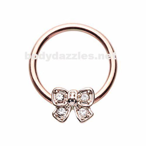 Golden Ribbon Bow Tie Steel Captive Bead Ring Cartilage Tragus Nipple Ring Nipple Bar 16ga