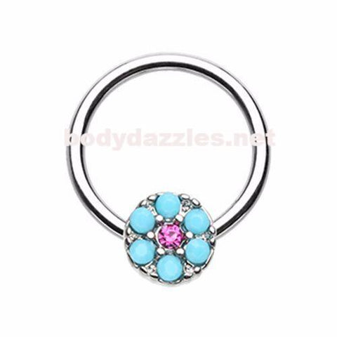 Navajo Turquoise Steel Captive Bead Ring Cartilage Tragus Nipple Ring Nipple Bar 16ga