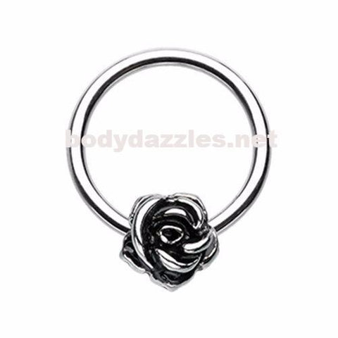 Rose Petal Steel Captive Bead Ring Cartilage Tragus Nipple Ring Nipple Bar 16ga