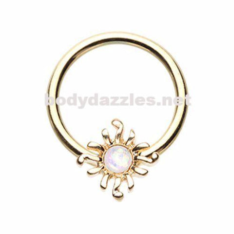 Golden Blazing Glitter Opal Sun Steel Captive Bead Ring Cartilage Tragus Nipple Ring Nipple Bar 16ga