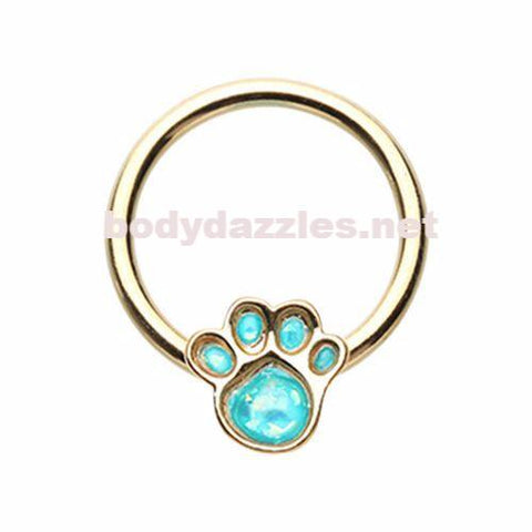 Golden Animal Lover Paw Print Glitter Opal Steel Captive Bead Ring Cartilage Tragus Nipple Ring Nipple Bar 16ga