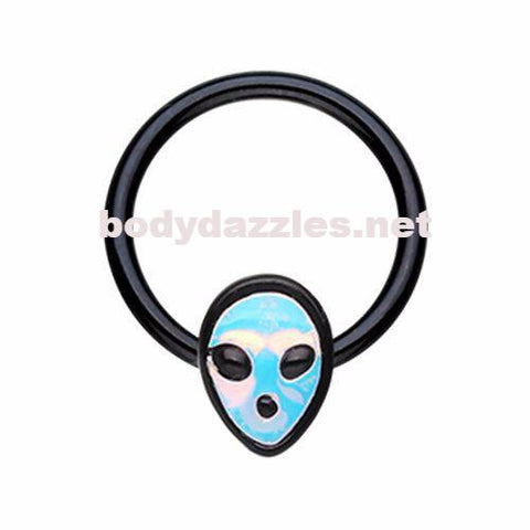 Black Alien Revo Head Steel Captive Bead Ring Cartilage Tragus Nipple Ring Nipple Bar 16ga - BodyDazzles