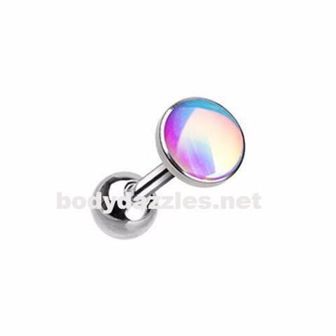 Silver Colored Convex Revo Cartilage Tragus Earring 18ga