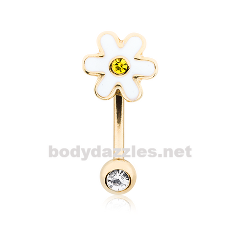 Adorable Daisy Curved Barbell Eyebrow Ring Rook Daith Ring 16ga Body Jewelry - BodyDazzles