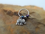 Elephant Cartilage Earring with Purple Blue Bead Captive Hoop Body Jewelry 18ga 16ga - BodyDazzle - 3