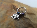 Elephant Cartilage Earring with Purple Blue Bead Captive Hoop Body Jewelry 18ga 16ga - BodyDazzle - 2