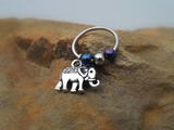 Elephant Cartilage Earring with Purple Blue Bead Captive Hoop Body Jewelry 18ga 16ga - BodyDazzle - 1