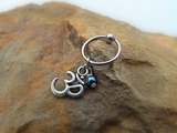 Ohm Cartilage Earring with Purple Blue Bead Captive Hoop Body Jewelry 18ga 16ga - BodyDazzle - 1