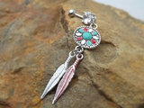 Dream Catcher Belly Ring Navel Ring Colored Feather Accents 14ga - BodyDazzle - 1