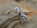 Belly Ring Claw with Marbel 14ga Navel Ring Body Jewelry - BodyDazzle - 2